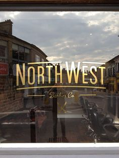 North West Barber Co. - Gold Window Graphic #lettering #script ...