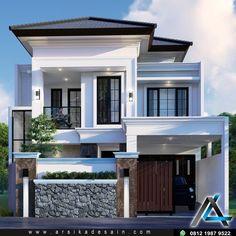 Narrow House Designs, Modern Exterior House Designs, Modern House Facades, Modern Villa Design, Dream House Exterior, House Outside Design, House Front Design, 2 Storey House Design, Bungalow House Design