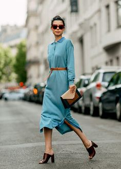 Sommer #Outfit Inspiration: Hemdkleid und Mules #ootd