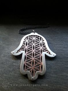 Hamsa Collaboration Pendant - sterling silver and copper - Handcrafted Sacred Geometry Jewellery