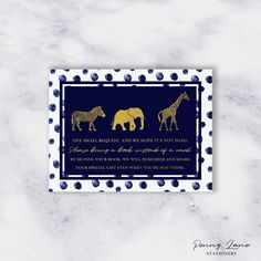 """This Navy and Gold, Safari themed """"Bring a Book"""" is a great addition to your Baby Shower Invitation, add to your Invitation envelope to ask your guests to bring a baby book instead of a greeting card."""