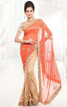 Picture of Peach Puff and French Beige Color Saree With Beautiful Embroidered Pallu
