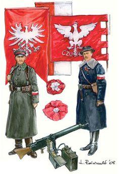 mundury Powstańców Poland History, Ww2 History, Military History, Military Art, Ww2 Uniforms, Military Uniforms, Russian Revolution 1917, Independence War, Uniform Insignia