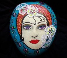 Limited Edition Hand Painted Rock Exoctic Woman Art Deco Era by Darlene Rogers | eBay
