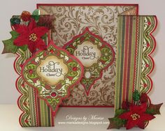 Christmas gatefold card with layeer of papers in traditional red and white and a Just Right ornament to top them off...