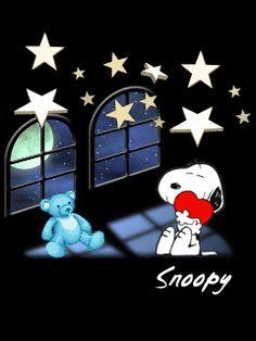 Gifs Snoopy, Snoopy Cartoon, Peanuts Cartoon, Snoopy Quotes, Peanuts Snoopy, Ciel Anime, Goodnight Snoopy, Woodstock Snoopy, Good Night Prayer