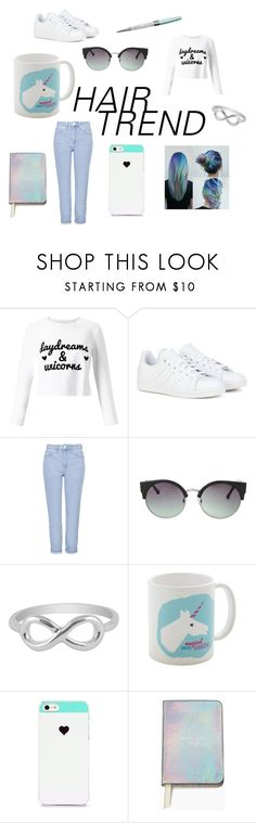 """rainbow hair"" by sjokoj2205 on Polyvore featuring beauty, Miss Selfridge, adidas, Topshop, MANGO, Jewel Exclusive, BlissfulCASE, Kate Spade and Swarovski"