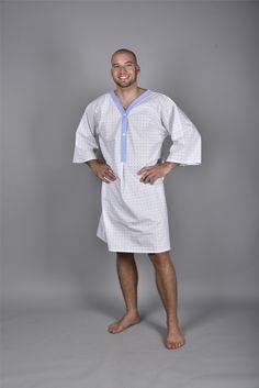 Patientenhemd - Rückenverschluss mit Bändel zum Binden - 50% Baumwolle / 50% Polyester Kimono, Shirt Dress, Coat, Jackets, Shirts, Dresses, Fashion, Professional Wear, Public Health