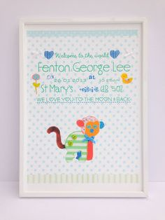 personalised new baby boy print by buttongirl designs | notonthehighstreet.com