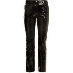 Helmut Lang Kick-flare cropped patent-leather trousers (4.295 RON) ❤ liked on Polyvore featuring pants, capris, helmut lang, black, pull on pants, flared leg pants, 5 pocket pants, flared trousers and pull on flare pants