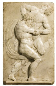 RELIEF WITH HERCULES WRESTLING ANTAEUS / Executed between circa 1560 and 1590. Florence.