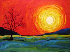 abstract acrylic easy painting paintings simple sunrise canvas beginner tutorials contemporary sunset sky landscape hills idea visita designs golden tree
