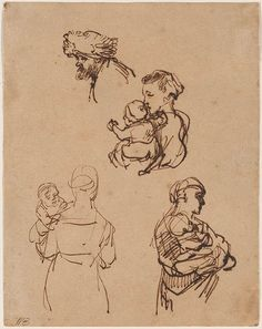 Rembrandt Harmenszoon van Rijn | Three Studies of Women, Each Holding a Child; Head of a Man | Drawings Online | The Morgan Library & Museum