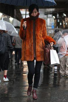 Tokyo Fashion Week Fall 2016 street style   Orange fur coat #MBFWT [Photo: Onnie A. Koski]