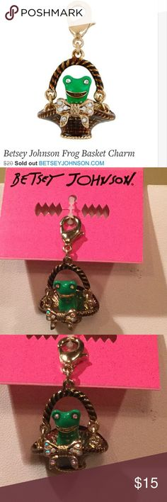 "NWT Betsey Johnson Walk in the Park Frog Charm NWT Betsey Johnson ""Walk in the Park"" frog in a basket charm; Crafted in gold-tone mixed metal, it features a smiling green frog with gold-tone bow detail and clear rhinestone eyes and embellishments; Basket charm with green frog. Gold tone bow. Lobster claw. Antique gold. Metal/epoxy. 1.5"" long x 0.8"" wide. Betsey Johnson Jewelry"