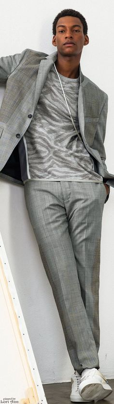 OAMC Spring 2016 | Men's Fashion | Menswear | Gray Suit, T-Shirt, White Sneakers | Smart Casual | Moda Masculina | Shop at designerclothingfans.com