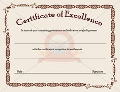 9 best business certificate images on pinterest certificate certificate of excellence template 5 free printable certificates of excellence templates certificate of excellence free printable allfreeprintablecom wajeb Gallery
