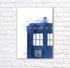 Dr Who Tardis Watercolor Wall Art Poster 2    This minimalist watercolor poster is printed using high quality archival inks on heavy-weight archival
