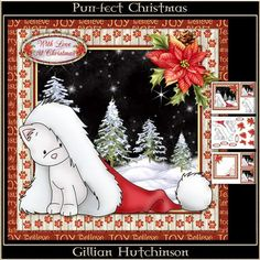 Purr fect Christmas on Craftsuprint designed by Gillian Hutchinson - 4 page 7x7 Christmas cat topper, decoupage, gift tag, blank insert, text insert: Hope You Have A Purr-fect Christmas