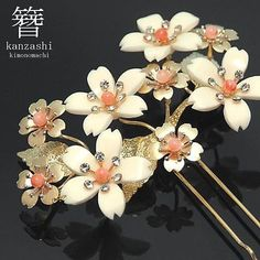 Japanese Geisha Kanzashi Kimono Hairpin coral Pearl rhinestone sakura off white | eBay