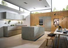 Modern - Kitchen - Design | Ceramic Concrete Grey Effect | Natural Knotty Oak | Next 125 German Kitchens #germankitchens #kitchendesign #next125 #luxurykitchens