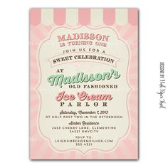 Vintage Ice Cream Parlor invitation Ice Cream by PinkPaperTrail