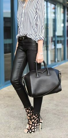 How to Chic: LEATHER PANTS i'm so down with this trend... leather...