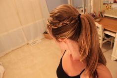 cute and simple ponytail, with a braid to add a little something.