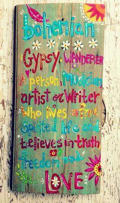 Bohemian Gypsy Decor Sign Original Art by evesjulia12 on Etsy, $68.00