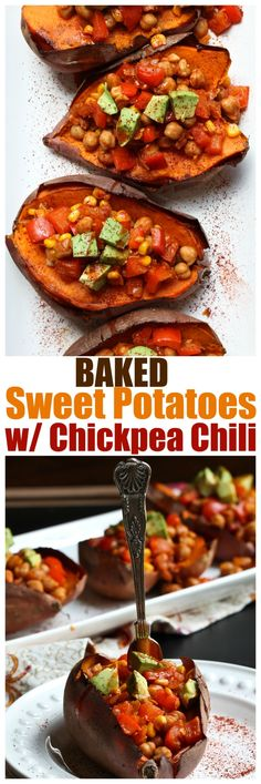 Baked Sweet Potatoes with Chickpea Chili. Vegan, gluten-free, oil-free and entire recipe just 8 ingredients! | http://TheVegan8.com | #vegan #glutenfree #oilfree #vegetarian #sweetpotato #chickpea #chili #baked