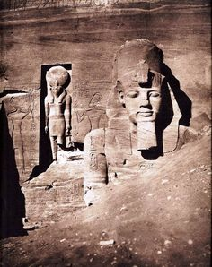 1852 : The first image of Abu Simbel which was half buried in sand, Egypt. Photographer : Felix Teynard. When Felix journeyed along the Nile in 1851 and 1852, Felix could not have been thinking about photography's important role in popularizing the ruins of ancient Egypt, since noone had never seen any photographs of its pyramids and temple