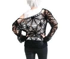 Gothic punk cobweb spider web acrylic mohair knitted crochet sweater black hoodies and sweatshirts 6