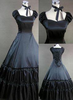 Black Satin Short Sleeve Victorian Lolita Dress