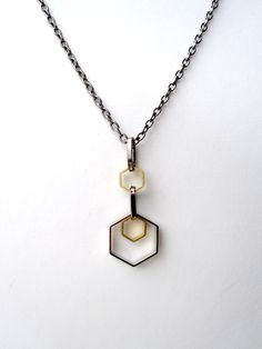 Geometric Necklace Mens Necklace Hexagon Mixed Metal Necklace For Him and Her. $21.40, via Etsy.