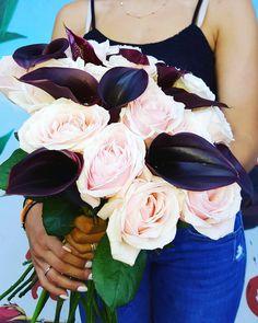 Unique colour...Unique bouquet #pinkroses #zantedeschia #deeppurple #pink #purple #roses #flowerloves #instaflower #lovethiscolor #flowershop #flowershow #loveflowers #lovecolors Deep Purple, Zantedeschia, Bouquet, Roses, Unique, Pink, Bouquet Of Flowers, Rose, Bouquets