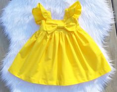 Yellow big bow dress girls yellow simple dress by sweetwhitepeony2
