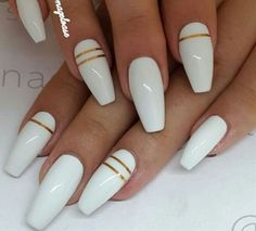 White nails with Gold lines
