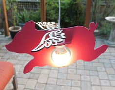 Flying Pig Lamp painted w/light kit by iTagStudios on Etsy, $65.00