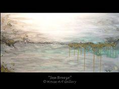 LARGE Abstract Seascape Painting Original Modern Contemporary Art Landscape Acrylic Ocean Sea Beach Aqua Gray White Metallic Gold 24 x 48
