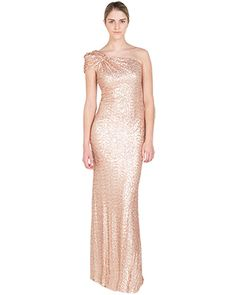 One-Shoulder Sequin Evening Gown
