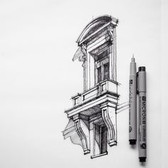 Architectural Sketchbook Drawings. To see more art and information about Dan Hogman click the image.