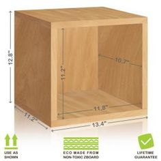 This Way Basics Eco Stackable zBoard Tool-Free Assembly Storage Cube Unit Organizer in Natural Wood Grain is an excellent home organizer for modern living.
