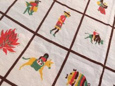 60's VINTAGE MEXICAN Theme TABLECLOTH Chili peppers Donkey Sombreros