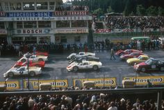Grid of a sportscar race in 1966 at Nurburgring.