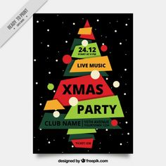Flyer with an irregular decorative tree for christmas Free Vector