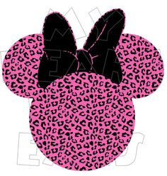 Printable DIY Minnie Mouse Disney pink and black leopard cheetah print by MyHeartHasEars DIY iron on transfer for t-shirts