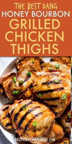 Here are the most helpful tips to learn how to grill chicken thighs on the grill and charcoal grill. Grilling chicken thighs bone-in has never been so easy with this sweet and salty honey bourbon barbeque sauce. This grilled chicken thighs marinade recipe is perfect for bbqs and quick summer weeknight meals on the grill. Click thru to get the best How to Grill chicken thighs recipe. #chickenthighsrecipe #grilledchickenthighs #kitchenhowto #howtogrill #grilledchickenrecipe #glutenfree Chicken Thigh Recipes, Grilled Chicken Recipes, Grilled Food, Healthy Grilling, Grilling Recipes, Traeger Recipes, Grilled Chicken Thighs Marinade, Easy Potluck Recipes, Delicious Recipes