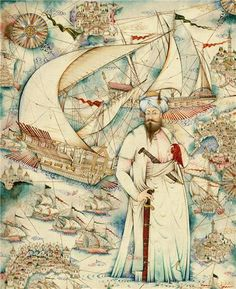 """His name means CAPTAN PIRI. He drew the PIRI REIS MAP. His full name was """"Hacı Ahmed Muhiddin Piri"""" the author of the Kitab-ı Bahriye, one of the most famous pre-modern books of navigation, including a world map. Old Maps, Antique Maps, Piri Reis Map, Naher Osten, Modern Books, Turkish Art, Medieval Art, Ottoman Empire, Islamic Art"""