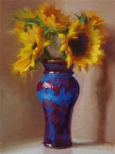 """Blue with Sunflowers"" - Original Fine Art for Sale - © Cynthia Rowland"