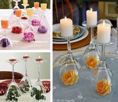 Neat idea for inexpensive table decor for wedding reception, use glasses from Dollar Store and Silk Flowers.